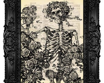 Death and Roses, Day of the Dead, Human Skeleton - Dictionary Art Print Vintage Upcycled Antique Book Page no. 130