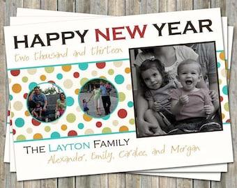 New Years card, Holiday photo card, christmas card, digital printable file