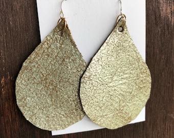Handcut Leather Teardrop Earrings || Rustic Gold || Hypoallergenic