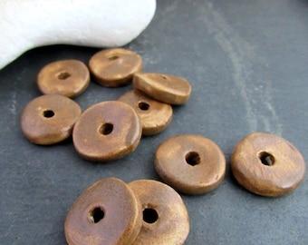 10 Medium Chocolate Brown Glazed Ceramic Washer Beads