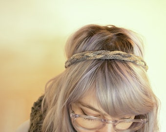 Skinny I-cord Braided Headband | Brown-Blue-White Mix