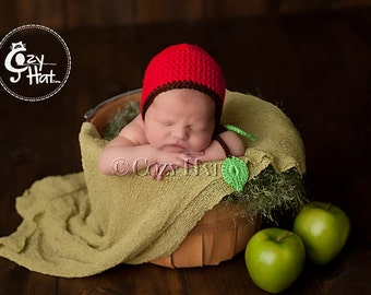 Red Apple Newborn Bonnet. Ready to ship! Photography Prop. Newborns and Babies. SALE