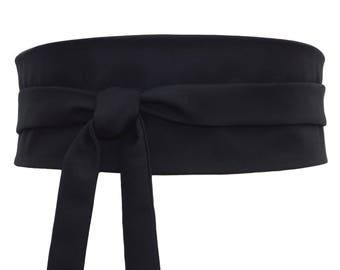 Silk and Wool - Reversible Black Obi Belt, Wide wrap belt, Waist belt japanese kimono cincher corset asian, fabric