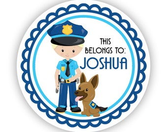 Name Label Personalized Stickers - Blue Police Boy, Police Dog, Police Name Tag Sticker Labels, This Belongs To - Back to School Name Labels