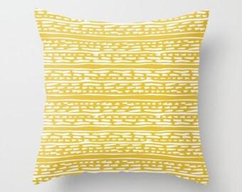 Lines and Dots Pillow  - Modern Pillow  - Yellow pillow  - Modern Home Decor - By Aldari Home