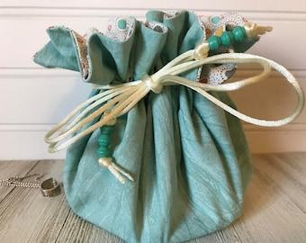 FREE SHIPPING--Robin's Egg Blue Travel Jewelry Pouch--Clear Inner Pockets--Jewelry Organizer--Jewelry Drawstring Pouch--Jewelry Storage