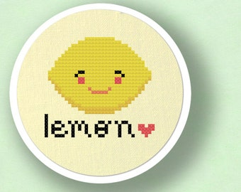 Lemon Love Cross Stitch Pattern, Fruit Modern Simple Cute Counted Cross Stitch Pattern PDF File. Instant Download