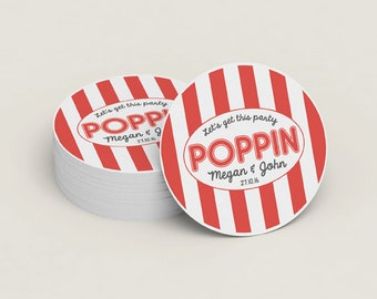 Custom Wedding Stickers - Poppin Stickers - Let's Get This Party Poppin - Popcorn Favor Stickers - Custom Stickers - Adhesive Labels