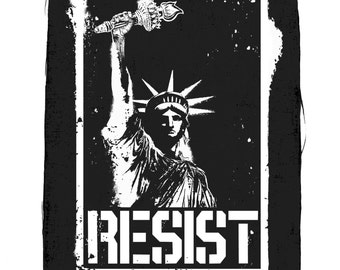 Liberty Resist Cloth Back Patch, Statue Of Liberty Back Patch, Raw Edge Patch, Political Patches, Protest Patches, Black Canvas Back Patch