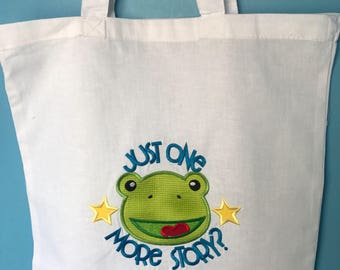 Children's appliqué book tote, Frog,embroidered, birthday, gift bag, library, handmade, toddler