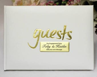 White & Gold Engagement Guest Book