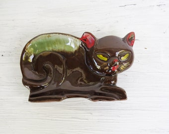 Cat Trinket Dish or Figurine- Brown and Green Cat Dish- 5 1/2""