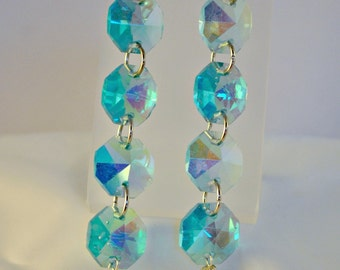 SALE - Long Aqua Crystal and Mother of Pearl Earrings