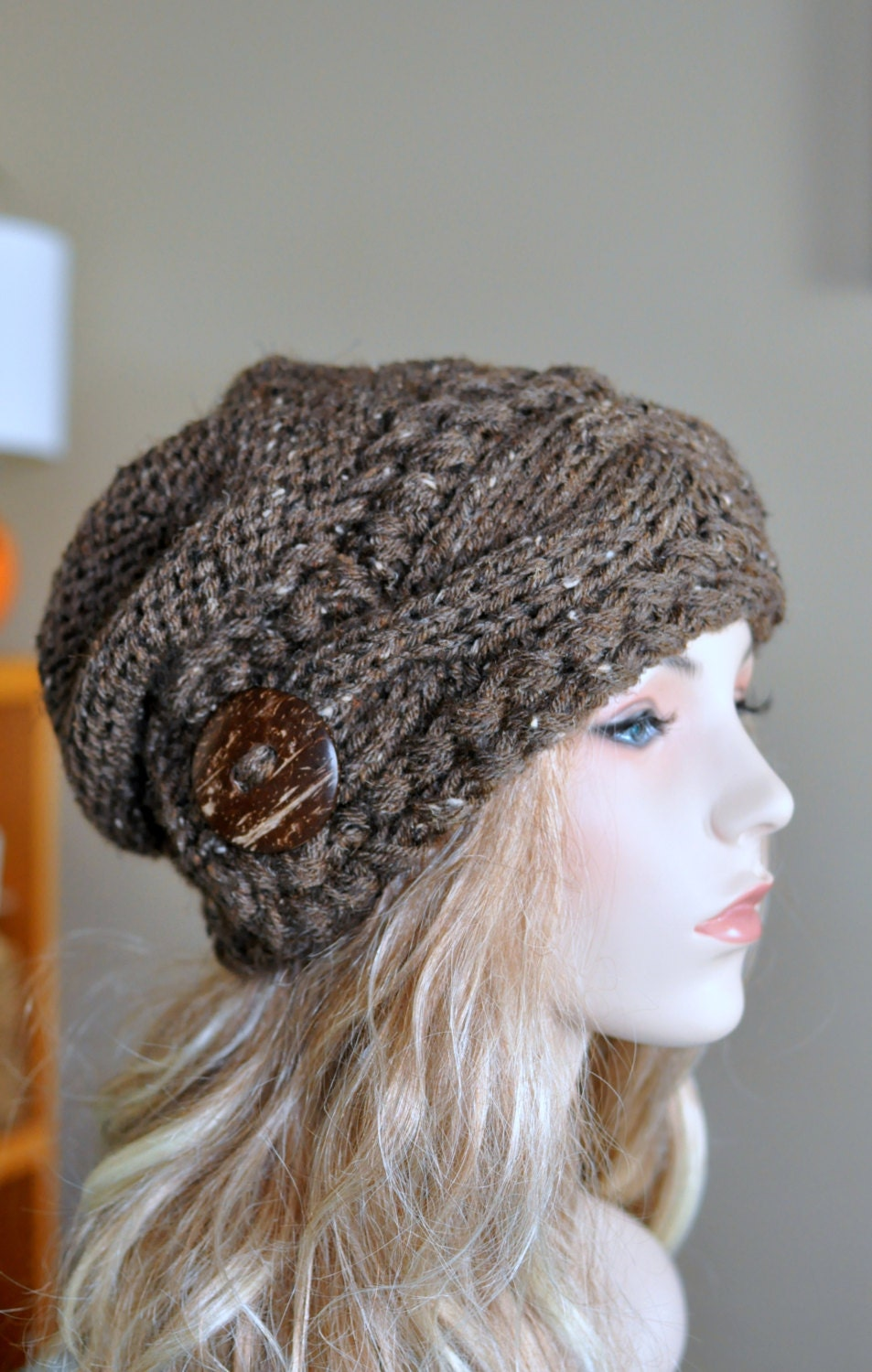 Slouchy women hat slouch beanie cable button hat hand knit zoom bankloansurffo Choice Image