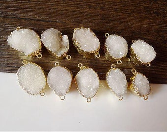 5/10pcs Nature White quartz stone druzy connector beads, gold plated edged drusy geode stones for jewelry making