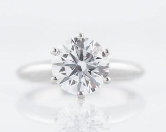 Engagement Ring Modern 2.05 GIA Round Brilliant Cut Diamond in Platinum