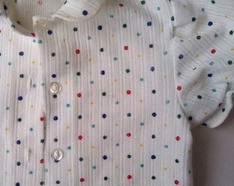 Sweet short sleeve Blouse with Collar -  White  with primary coloured spots / dots  Vintage  80s