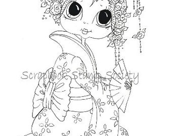 INSTANT DOWNLOAD Digital Digi Stamps Big Eye Big Head Dolls Digi IMG564 By Sherri Baldy