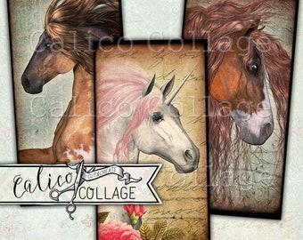 Domino Collage Sheet, Wild Horses, Printable, Digital, Horse Ephemera, 1x2 Inch Domino, 1x2 Collage Sheet, Printable Download, Unicorns