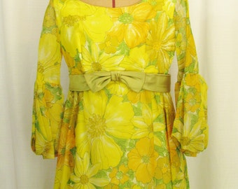 SALE | Vintage Gown with Yellow Floral Overlay