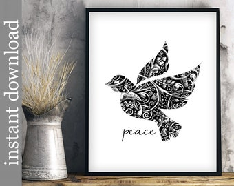Peace printable, Dove of Peace, world peace, dorm art, black and white, dove wall art, inspirational, peace print, instant download