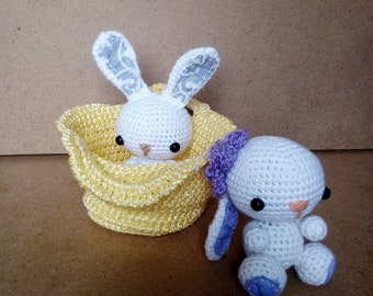 White Bunny Rabbit With Small Basket Crocheted Mini Amigurumi Handmade Easter Gift Set For Baby And Decor