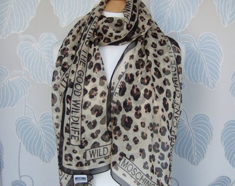 1990s Moschino Cheap and Chic Silk Leopard Print Scard