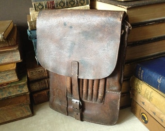 Antique Woody Brown Pigskin Leather Messenger Document / Map / Belted Cartridge Bag // Bike