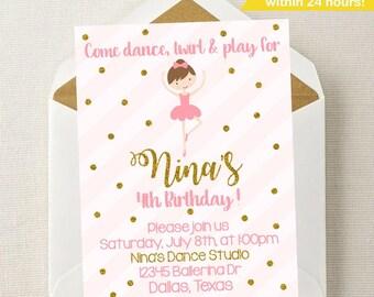 Ballet invitation etsy ballerina invitation ballerina birthday pink gold invitation ballet birthday party filmwisefo