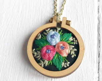 Embroidered necklace roses handmade
