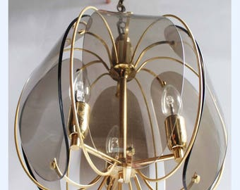 Vintage 80's 3 Bulb Smoked Glass And Brass Ceiling Light