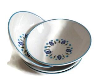 Mid Century Coupe Berry Bowls, Mar-Crest Stetson, Swiss Chalet Alpine, Vintage Kitchen, Set of 4, Discontinued Pattern, Blue Kitchen,