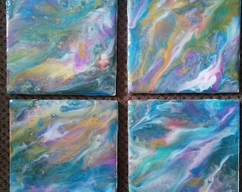 4 coaster tiles made with resin and mica powders with some sparkle!