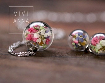 Mini silver set with spring flowers - set023