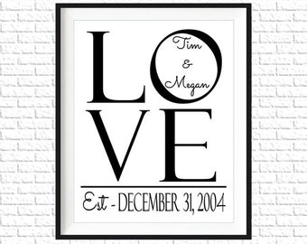 Personalized Wedding Wall Art | LOVE | Home Wall Decor | Marriage | Wedding Printable