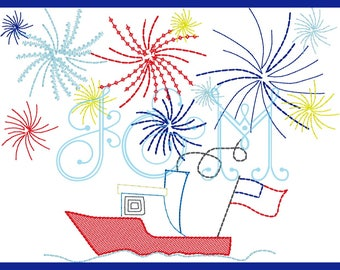 Vintage Stitch Fourth of July Sketch Party Boat with Fireworks Embroidery Design
