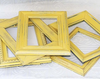 Yellow Frame Painted  5x7  Distressed  Shabby Chic Frame Made To Order