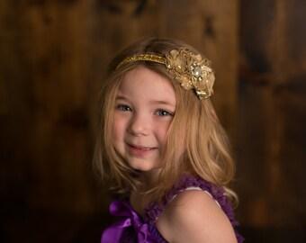 Vintage Gold Shabby Chic Baby Headband, Vintage Headband, Flower Headband, Bridal Headband,Baby Headband, Newborn Headband, Girl's Headband