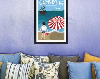 Lake Superior Shore Towns Series: Art Deco Washburn, WI Travel Prints