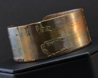 Copper Etched Cuff Bracelet (031818-003)