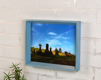 8x10 Picture Frame with Vintage Smokey Finish in Park Slope Style - IN STOCK - Same Day Shipping - 8 x 10 Photo Frame Blue