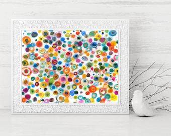 Rainbow Abstract Printable - Rainbow Circles Art Print - Colorful Abstract Art Print - Abstract Circle Painting Print - Modern Art - 9x12