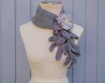 Grey scarf, Crochet scarf, Flower scarf, Handmade corchet scarf, necklace scarf, women scarf, gift for her, fashion scarf, soft scarf, fall