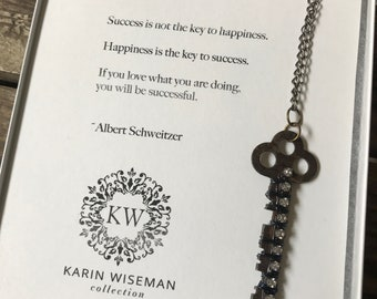 Key To Happiness Graduation Necklace Gift Quote Inspiration