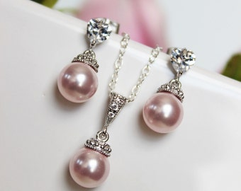 Pink Pearl Flower Girl Jewelry Set, Pink Pearl Pendant and Pearl Drop Earrings, Flower Jewelry Gift Set, Wedding Jewelry Set