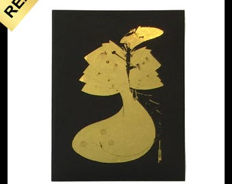 Real Metallic GOld Foil wall art print Aubrey Beardsley the Black Cape 1894
