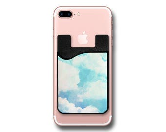 Watercolor Blue Sky White Clouds Phone Caddy - Sticker Pocket Wallet - Cell Phone Pocket PC1149