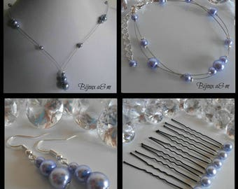 Set of 4 wedding pieces cascade Lavender beads