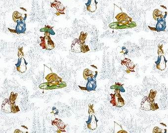Dollhouse Miniature Small Scale Computer Printed Fabric Peter Rabbit