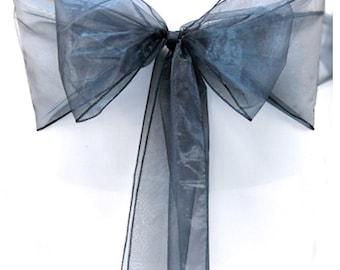 Navy Blue Organza Chair Sash Bow Wedding Venue Decoration